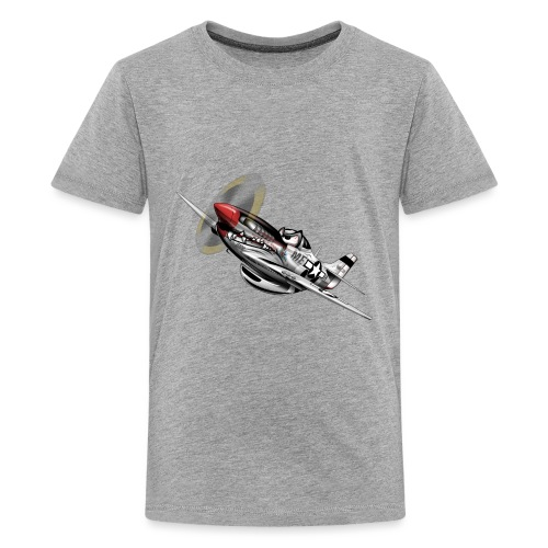 P-51 Mustang WWII Airplane Cartoon Illustration - Kids' Premium T-Shirt