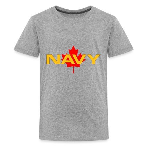 Navy Logo on Maple Leaf - Kids' Premium T-Shirt