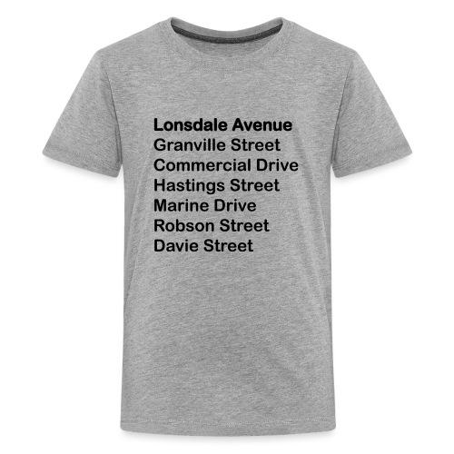 Street Names Black Text - Kids' Premium T-Shirt