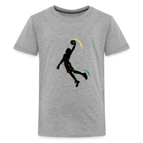 basketball drawing player grunge silhouette decor - Kids' Premium T-Shirt