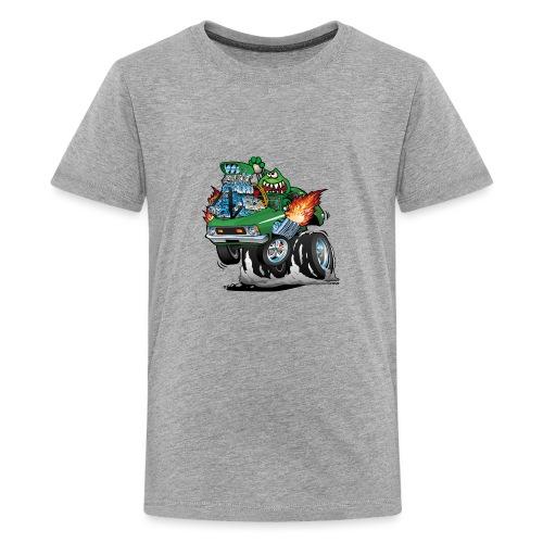 Seventies Green Hot Rod Funny Car Cartoon - Kids' Premium T-Shirt