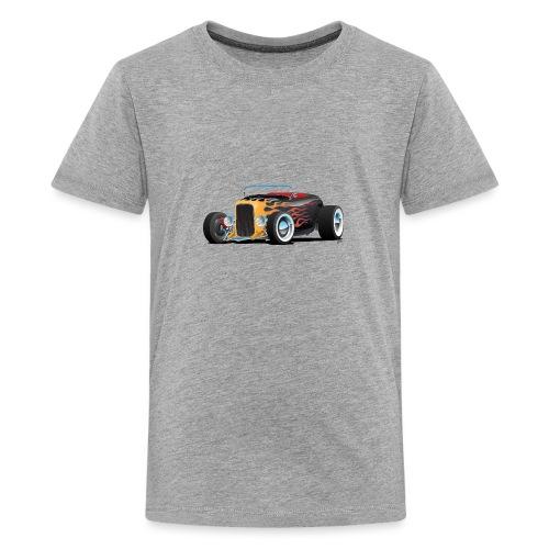 Custom Hot Rod Roadster Car with Flames - Kids' Premium T-Shirt