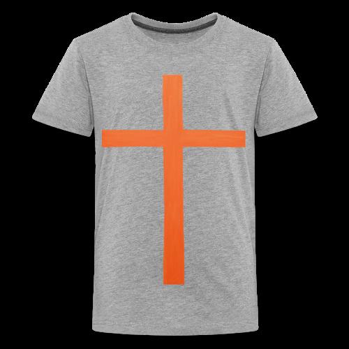 Orange Cross Jesus Rock Design AVE - Kids' Premium T-Shirt