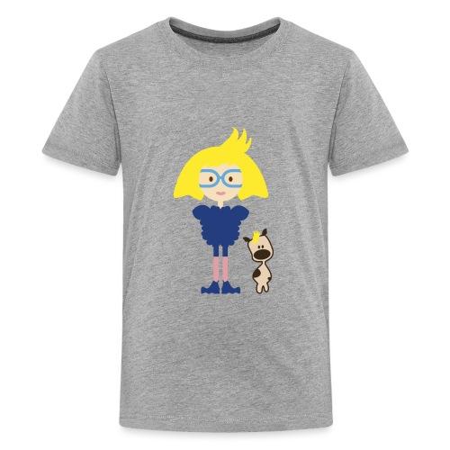 Blond Girl w/ Odd Fashion in Boots + Cute Dog - Kids' Premium T-Shirt