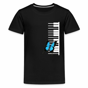 White piano with butterfly - Kids' Premium T-Shirt