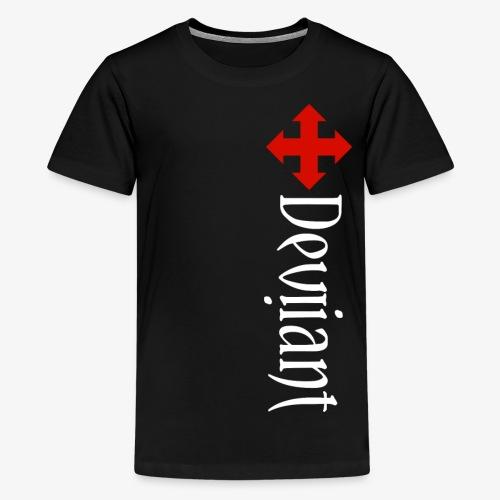 Deviiant white lft side vert - Kids' Premium T-Shirt
