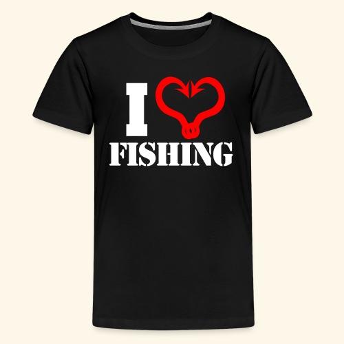 I heart fishing WHITE - Kids' Premium T-Shirt