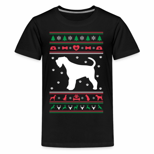 Ugly Sweater Christmas Airedale dog - Kids' Premium T-Shirt