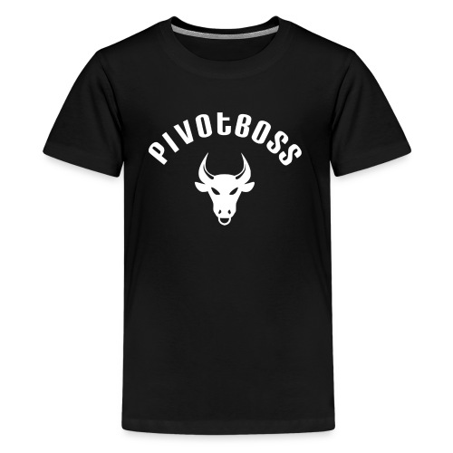 PivotBoss Curved Logo - White - Kids' Premium T-Shirt