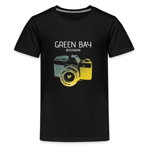 Green Bay camera with heart - Kids' Premium T-Shirt