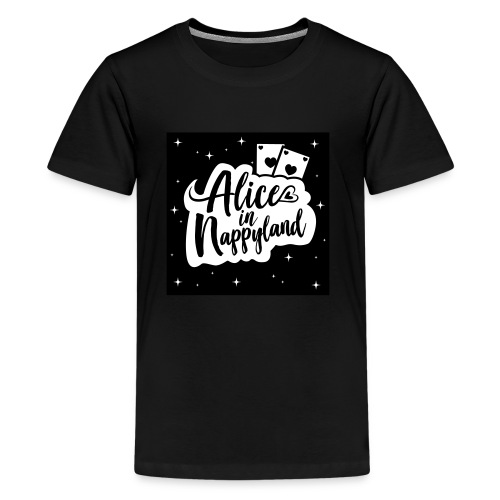 Alice in Nappyland Typography Black with design - Kids' Premium T-Shirt