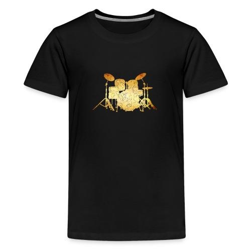 Gold Grunge Drum Kit - Kids' Premium T-Shirt
