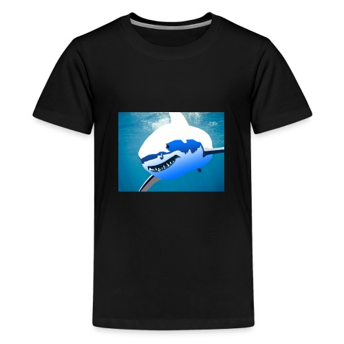 Super Lit Shark Drawing by Adam Tennant - Kids' Premium T-Shirt