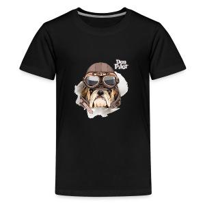 Portrait Bulldog Vintage Leather Aviator Helmet - Kids' Premium T-Shirt