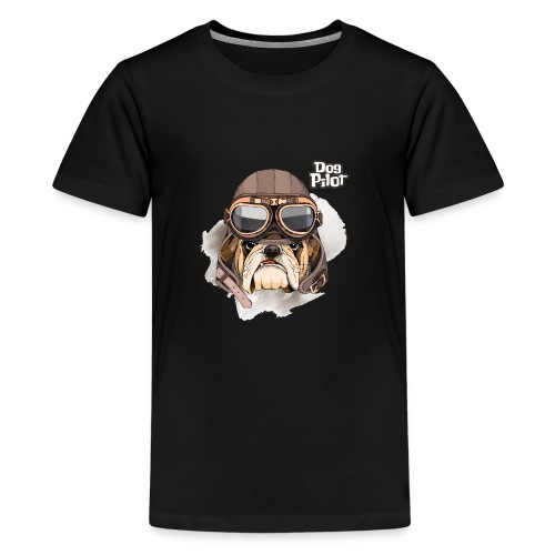 Portrait Bulldog Vintage Leather Aviator Helmet - Kids' Premium T-Shirt
