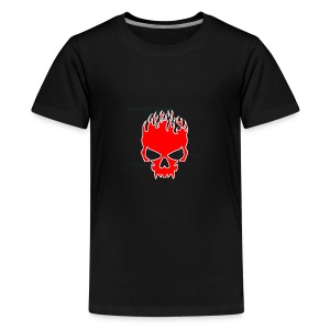 Flaming Red Skull with Tribal Flames - Kids' Premium T-Shirt