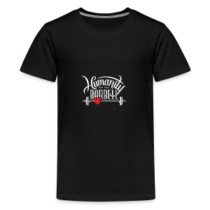 Humanity Barbell White w/Red Heart - Kids' Premium T-Shirt
