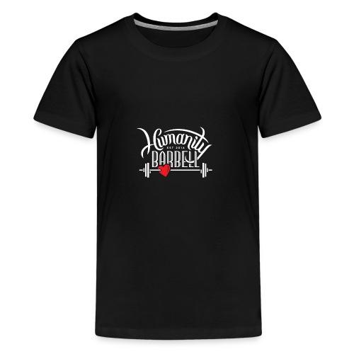Humanity Barbell White w/Red Heart - Kids' Premium T-Shirt