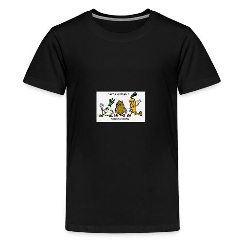 SAVE A VEGETABLE SHOOT A VEGAN - Kids' Premium T-Shirt