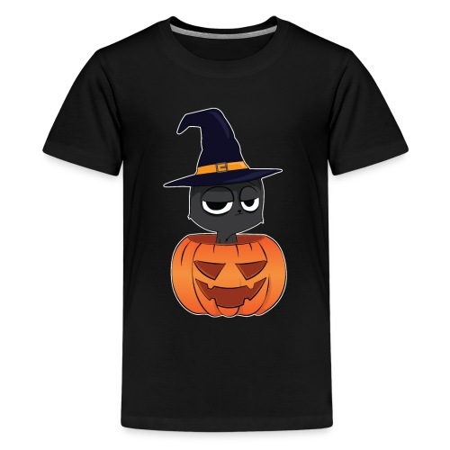 Witch Cat in a Jack o Lantern Halloween Shirt - Kids' Premium T-Shirt