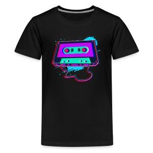 80s Music Cassette Tape : 3D, Neon, 80s songs - Kids' Premium T-Shirt