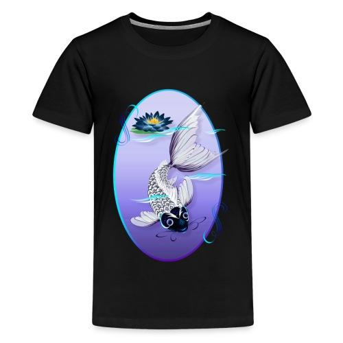 White Koi-Blue Lily Oval - Kids' Premium T-Shirt