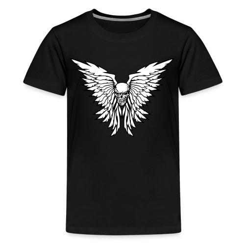 Classic Old School Skull Wings Illustration - Kids' Premium T-Shirt