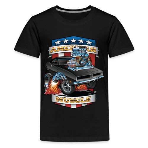 American Muscle Patriotic Muscle Car Cartoon - Kids' Premium T-Shirt
