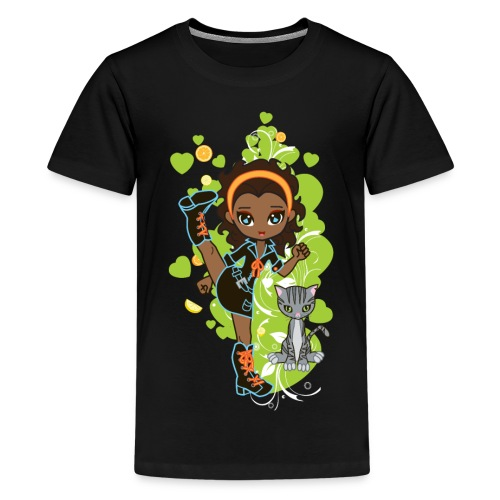 Aisha the African American Chibi Girl - Kids' Premium T-Shirt