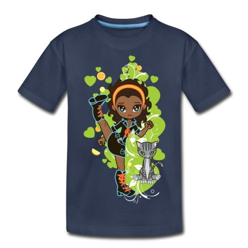 Aisha the African American Chibi Girl - Kids' Premium T-Shirt