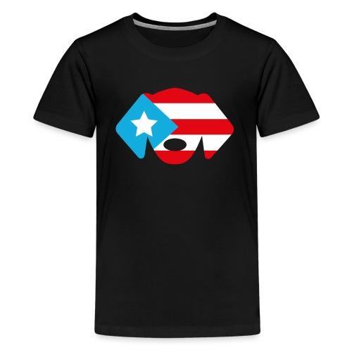 Puerto Rico Flag Dog Head - Kids' Premium T-Shirt