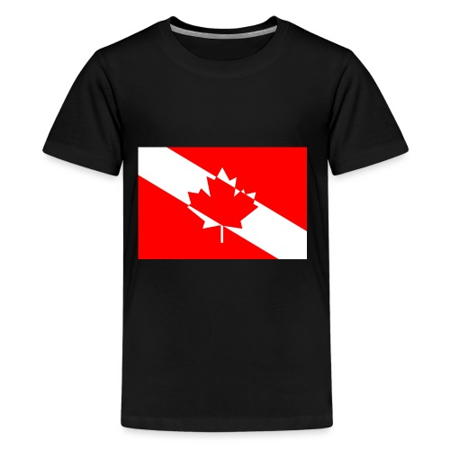 Canadian Diver Flag in Red & White - Kids' Premium T-Shirt