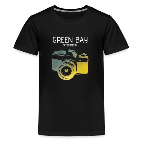 Green Bay camera with heart - Kids' Premium T-Shirt