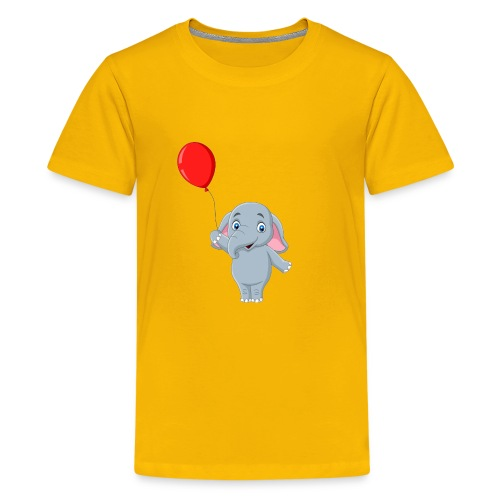 Baby Elephant Holding A Balloon - Kids' Premium T-Shirt