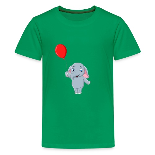 Baby Elephant Holding A Balloon - Kids' Premium T-Shirt