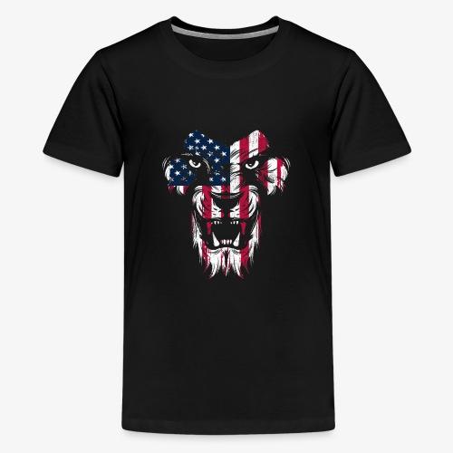 American Flag Lion - Kids' Premium T-Shirt