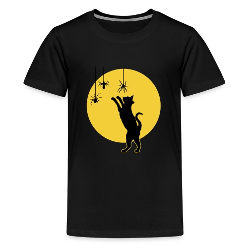 Full Moon with Black Cat and Spiders Halloween - Kids' Premium T-Shirt