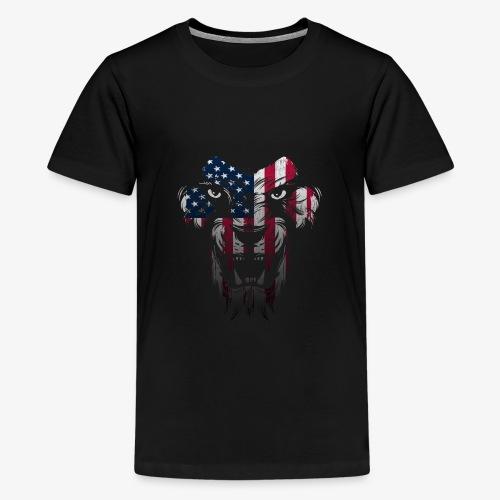 American Flag Lion Shirt - Kids' Premium T-Shirt
