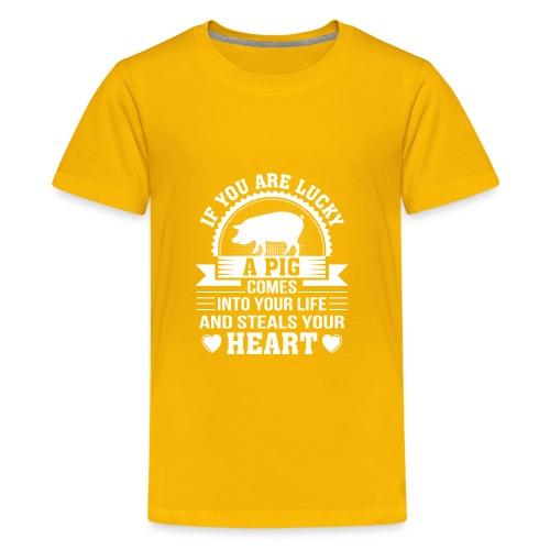 Mini Pig Comes Your Life Steals Heart - Kids' Premium T-Shirt