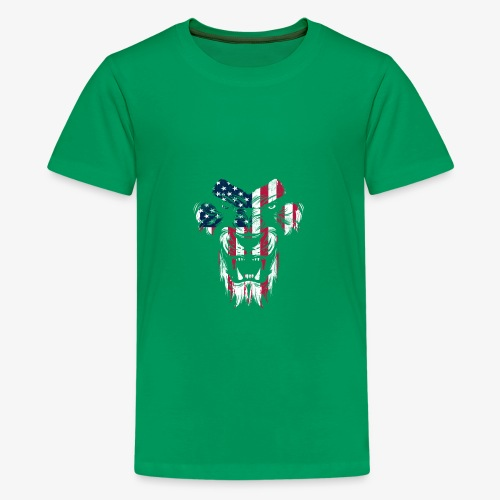 Lovely American Lion USA Flag Silhouette Portrait - Kids' Premium T-Shirt