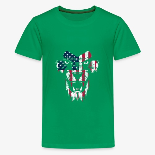 American Flag Lion - Kids' Premium T-Shirt