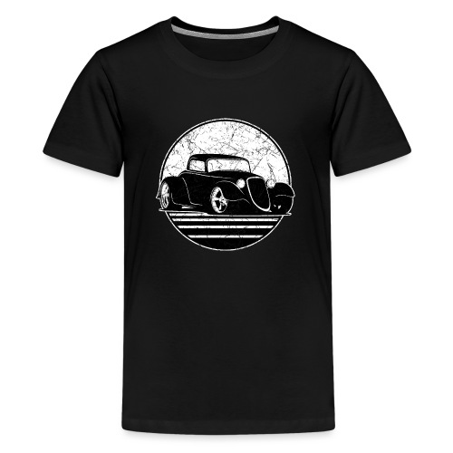 Retro Hot Rod Grungy Sunset Illustration - Kids' Premium T-Shirt