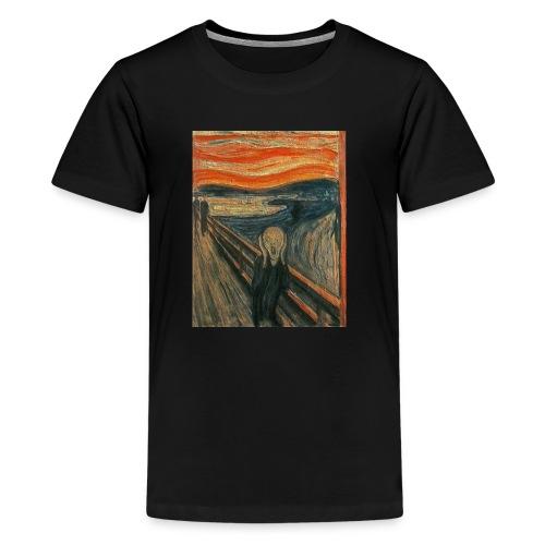 The Scream (Textured) by Edvard Munch - Kids' Premium T-Shirt
