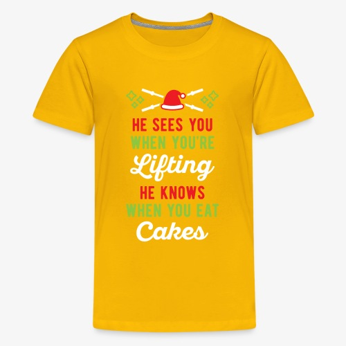 He Sees You When You're Lifting He Knows When You - Kids' Premium T-Shirt