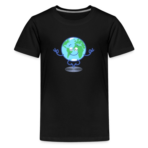Planet Earth meditating and smiling - Kids' Premium T-Shirt