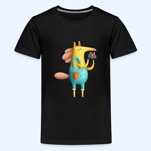 Cute Horse cartoon character gives gift - Kids' Premium T-Shirt