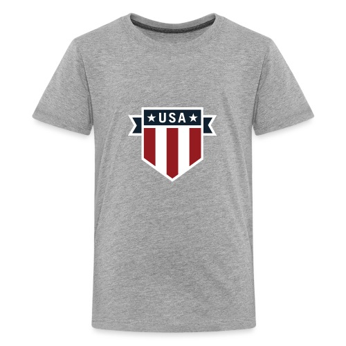 USA Pride Red White and Blue Patriotic Shield - Kids' Premium T-Shirt
