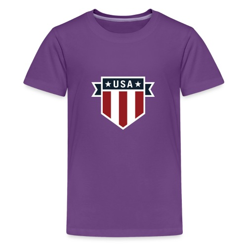 USA Pride Red White and Blue Patriotic Shield - Kids' Premium T-Shirt