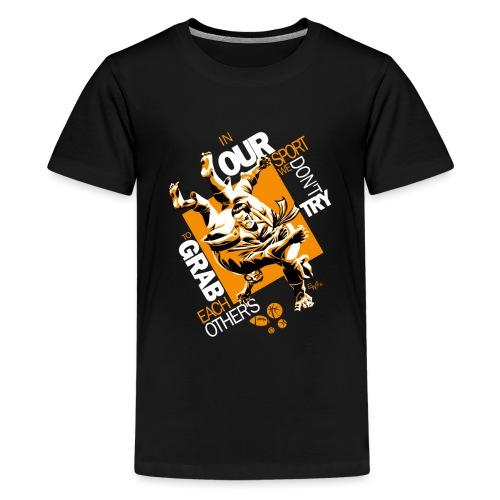 Judo Shirt BJJ Shirt Grab Design for dark shirts - Kids' Premium T-Shirt