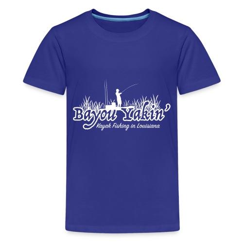 Bayou Yakin' Logo in White - Kids' Premium T-Shirt